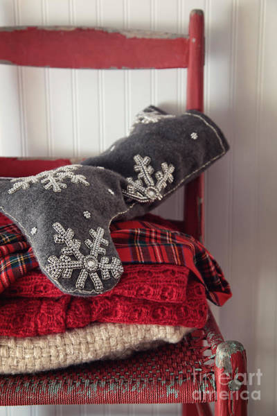 Photograph - Christmas Stocking On Old Red Chair by Sandra Cunningham