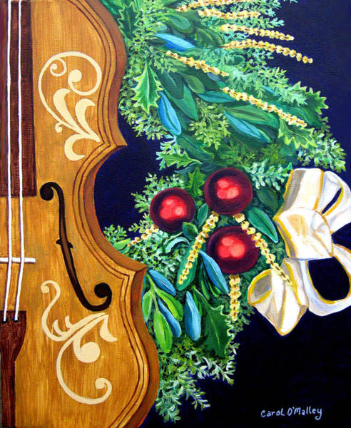 Musical Theme Painting - Christmas Strings by Carol OMalley