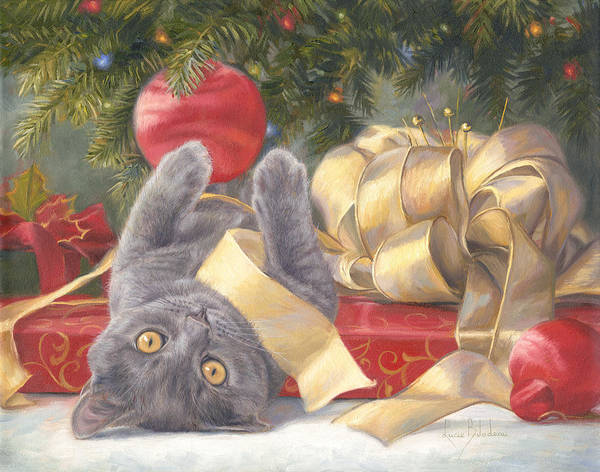 Domestic Cat Wall Art - Painting - Christmas Surprise by Lucie Bilodeau