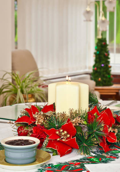 Green Berry Photograph - Christmas Table by Tom Gowanlock