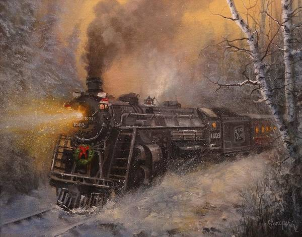 Falling Snow Wall Art - Painting - Christmas Train In Wisconsin by Tom Shropshire