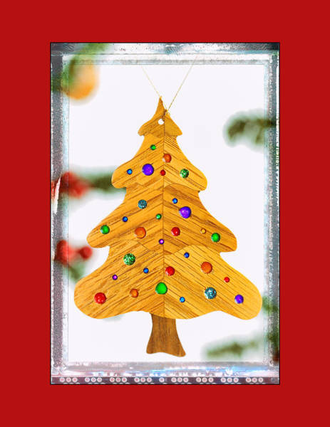 Christmas Tree Art Ornament In Red  Art Print