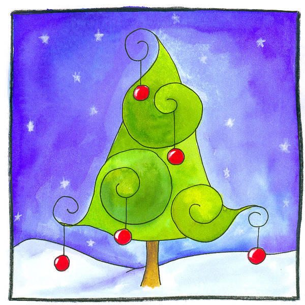 Christmas Tree Painting - Christmas Tree by Esteban Studio