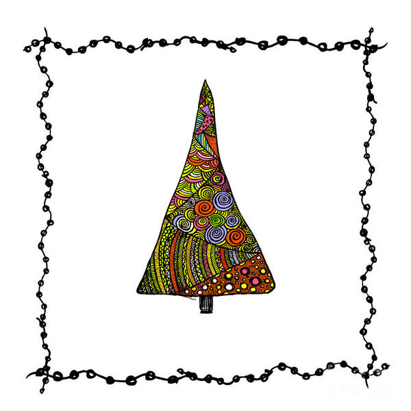 Bright Digital Art - Christmas Tree From Patterns.vector by Ihnatovich Maryia