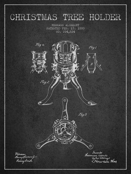 Christmas Tree Digital Art - Christmas Tree Holder Patent From 1880 - Charcoal by Aged Pixel