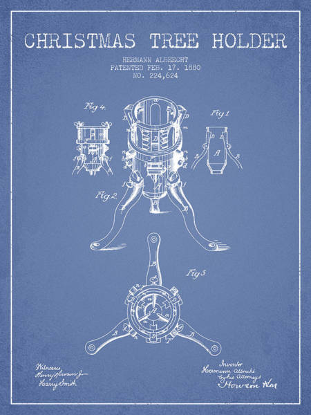 Christmas Tree Digital Art - Christmas Tree Holder Patent From 1880 - Light Blue by Aged Pixel