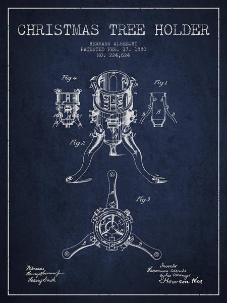 Christmas Tree Digital Art - Christmas Tree Holder Patent From 1880 - Navy Blue by Aged Pixel