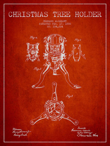 Christmas Tree Digital Art - Christmas Tree Holder Patent From 1880 - Red by Aged Pixel