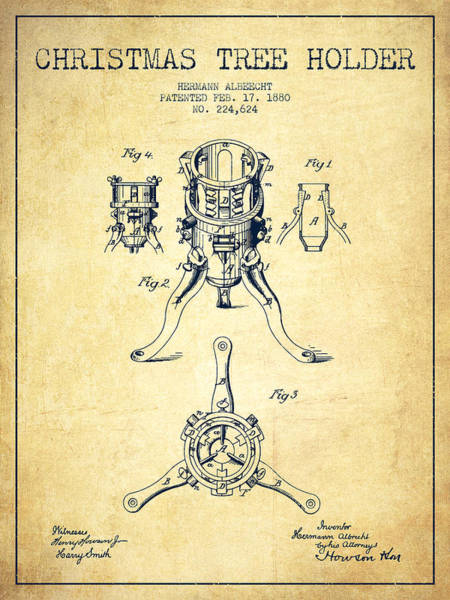 Christmas Tree Digital Art - Christmas Tree Holder Patent From 1880 - Vintage by Aged Pixel