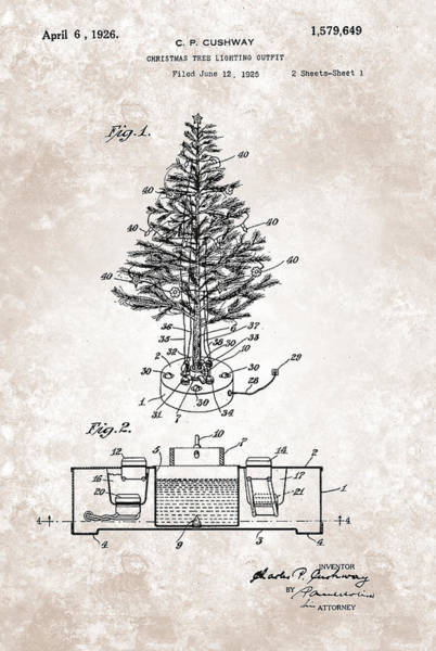 Painting - Christmas Tree Lighting Outfit Patent From 1926 by Celestial Images