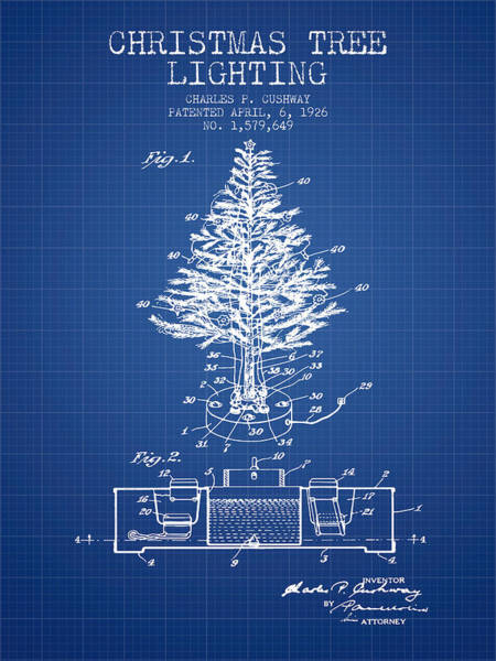 Christmas Tree Digital Art - Christmas Tree Lighting Patent From 1926 - Blueprint by Aged Pixel