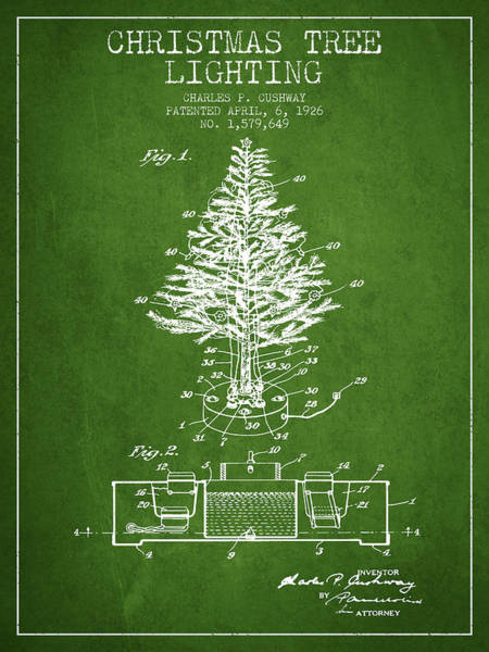 Christmas Tree Digital Art - Christmas Tree Lighting Patent From 1926 - Green by Aged Pixel