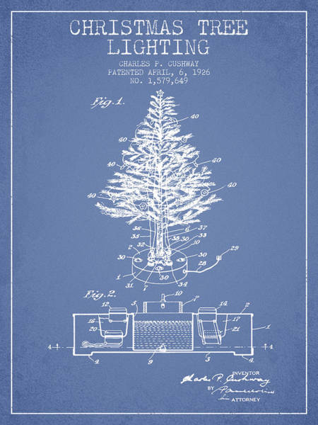 Christmas Tree Digital Art - Christmas Tree Lighting Patent From 1926 - Light Blue by Aged Pixel