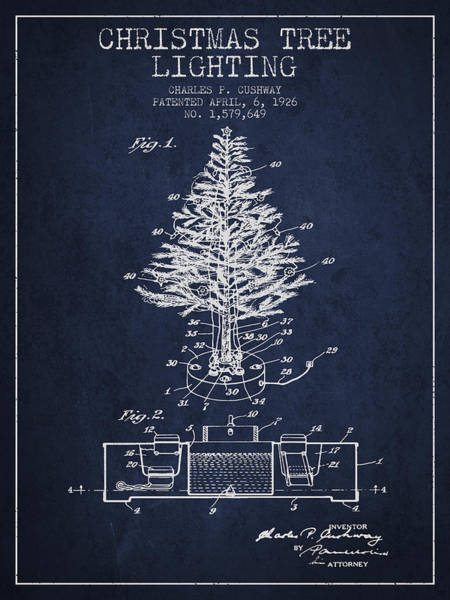 Christmas Tree Digital Art - Christmas Tree Lighting Patent From 1926 - Navy Blue by Aged Pixel