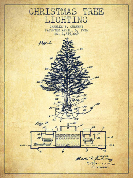 Christmas Tree Digital Art - Christmas Tree Lighting Patent From 1926 - Vintage by Aged Pixel
