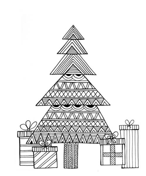 Holiday Drawing - Christmas Tree by MGL Meiklejohn Graphics Licensing