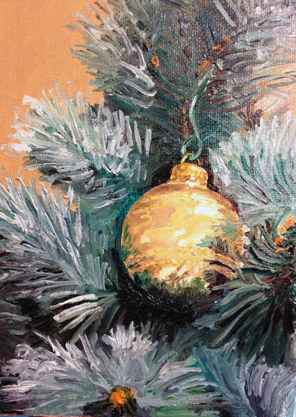 Pine Needles Painting - Christmas Tree Ornament Gold by Arch