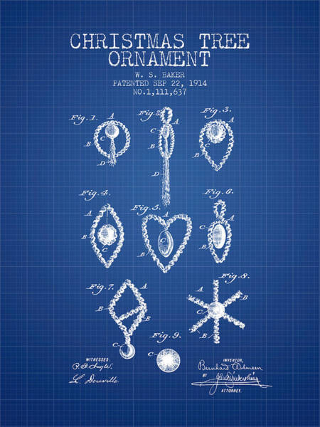 Christmas Tree Digital Art - Christmas Tree Ornament Patent From 1914 - Blueprint by Aged Pixel