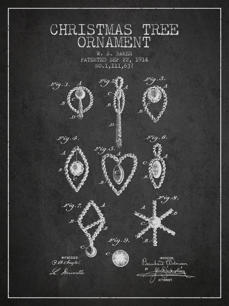 Christmas Tree Digital Art - Christmas Tree Ornament Patent From 1914 - Charcoal by Aged Pixel