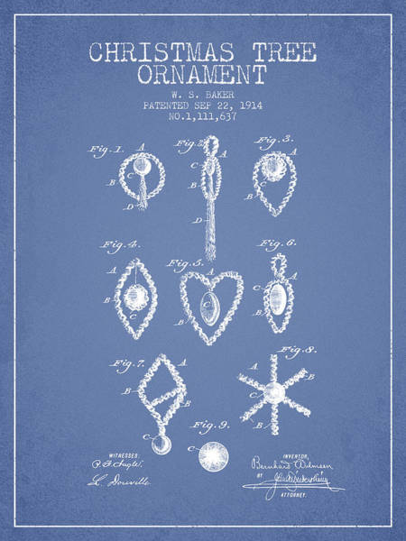 Christmas Tree Digital Art - Christmas Tree Ornament Patent From 1914 - Light Blue by Aged Pixel