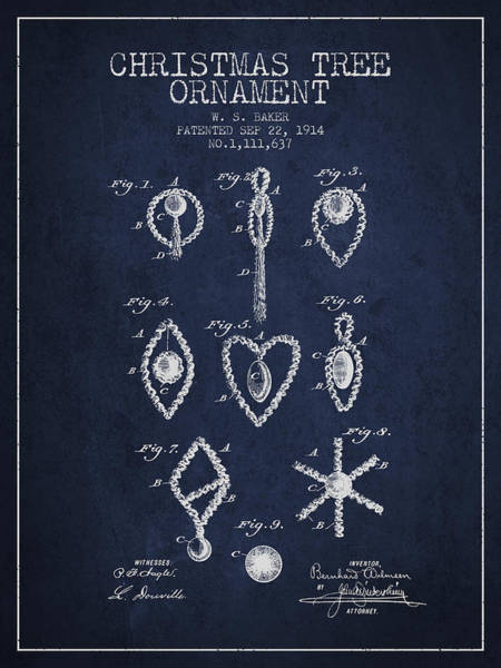 Christmas Tree Digital Art - Christmas Tree Ornament Patent From 1914 - Navy Blue by Aged Pixel
