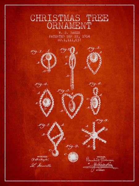 Christmas Tree Digital Art - Christmas Tree Ornament Patent From 1914 - Red by Aged Pixel