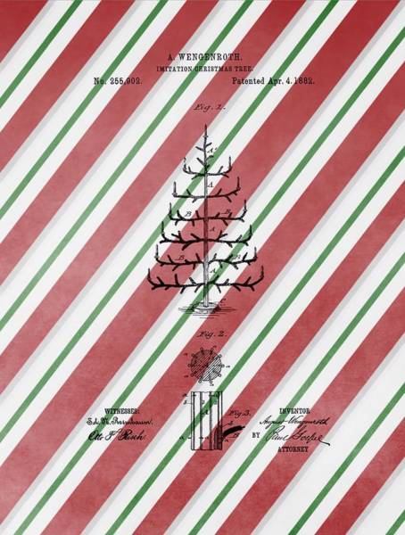Christmas Tree Drawing - Christmas Tree Patent Candy Cane by Dan Sproul