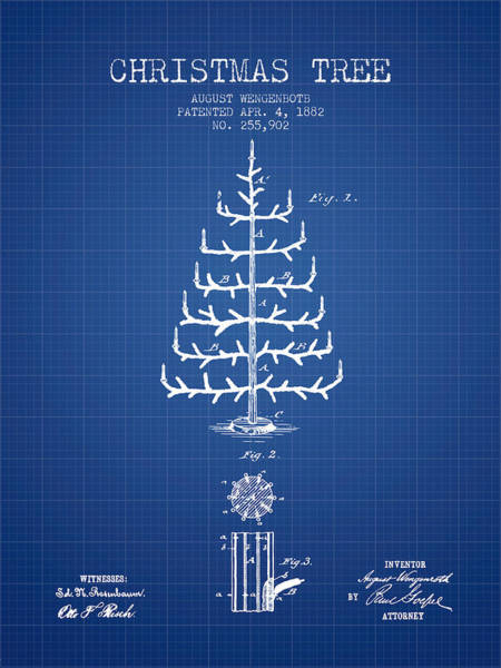Christmas Tree Digital Art - Christmas Tree Patent From 1882 - Blueprint by Aged Pixel