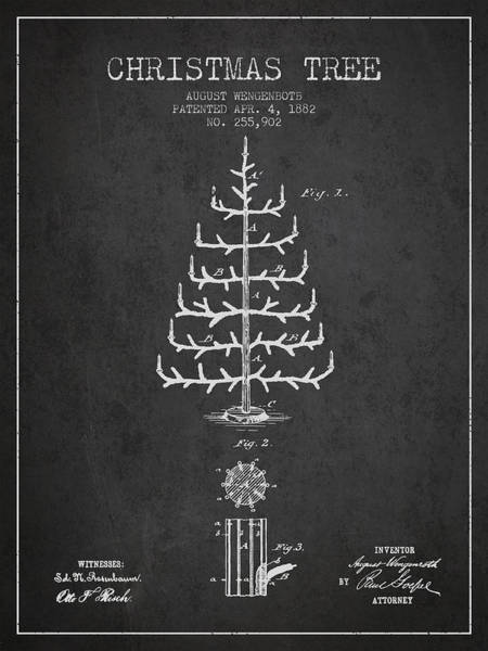 Christmas Tree Digital Art - Christmas Tree Patent From 1882 - Charcoal by Aged Pixel
