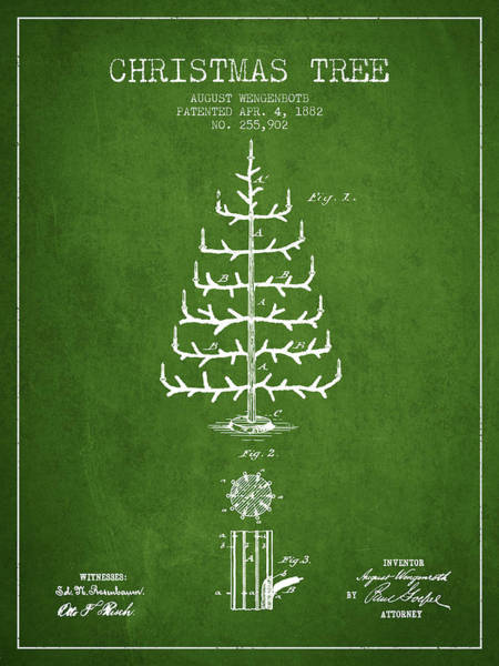 Christmas Tree Digital Art - Christmas Tree Patent From 1882 - Green by Aged Pixel