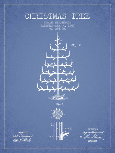Christmas Tree Digital Art - Christmas Tree Patent From 1882 - Light Blue by Aged Pixel