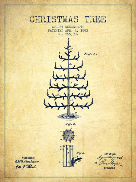 Christmas Tree Digital Art - Christmas Tree Patent From 1882 - Vintage by Aged Pixel