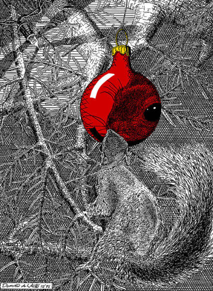Christmas Tree Squirrel With Red Ornament Art Print