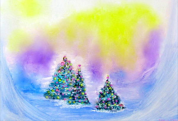 Christmas Trees In The  Valley - Alcohol Inks In Pastel Art Print