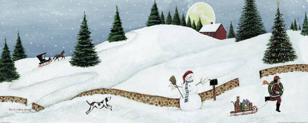 Tan Cat Wall Art - Painting - Christmas Valley Snowman by David Carter Brown