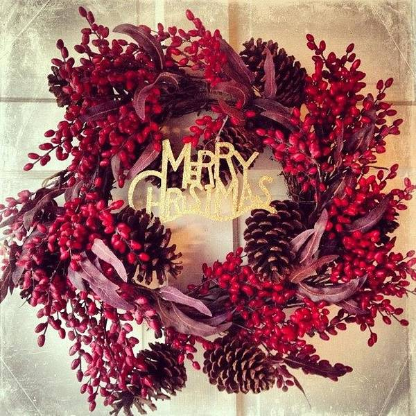 Holiday Wall Art - Photograph - Christmas Wreath #christmas #wreath by Teresa Mucha