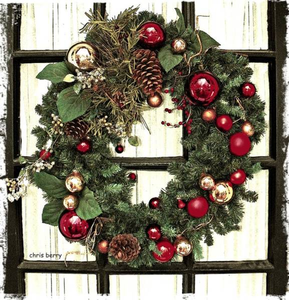 Yule Photograph - Christmas Wreath On Black Door by Chris Berry