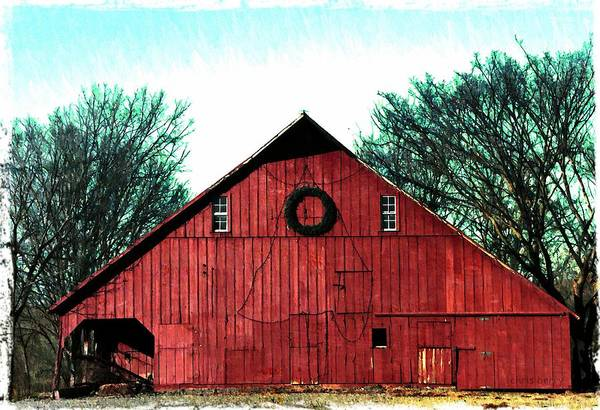 Wall Art - Photograph - Christmas Wreath On Red Barn by Chris Berry