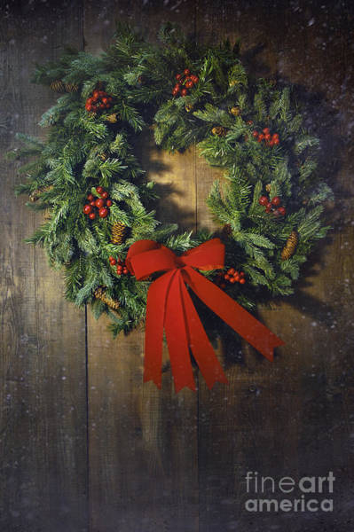 Photograph - Christmas Wreath On The Wood Background  by Sandra Cunningham