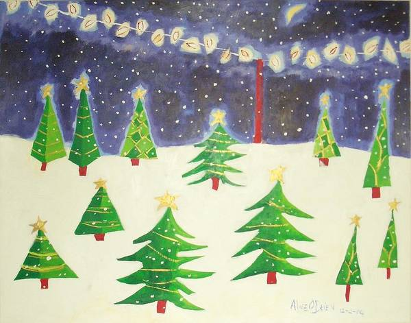 Yule Tide Painting - Christmastime by Allison  Fauchier