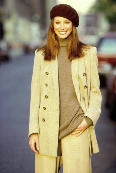 Christy Photograph - Christy Turlington Wearing A Brown Coat by Arthur Elgort