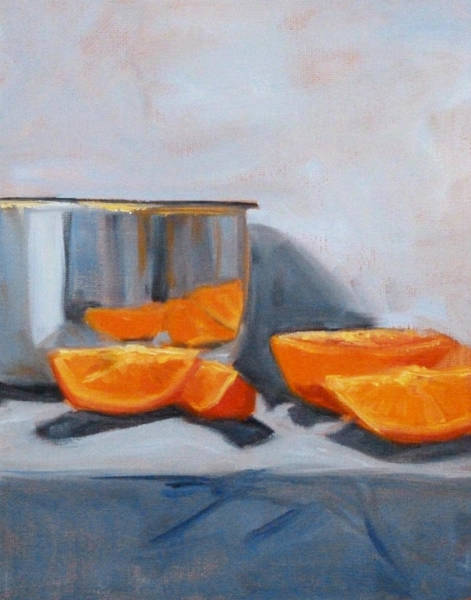Wall Art - Painting - Chrome And Oranges by Nancy Merkle