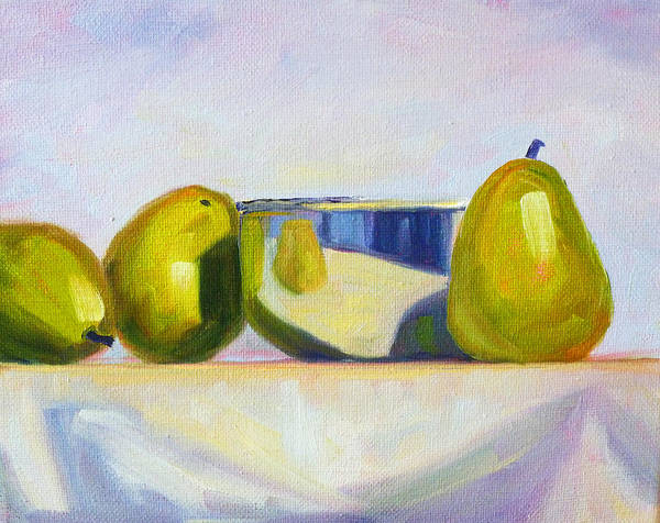 Stainless Steel Wall Art - Painting - Chrome And Pears by Nancy Merkle