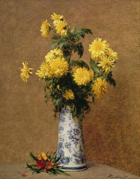 Vase Of Flowers Painting - Chrysanthemums, 1879 by Ignace Henri Jean Fantin-Latour