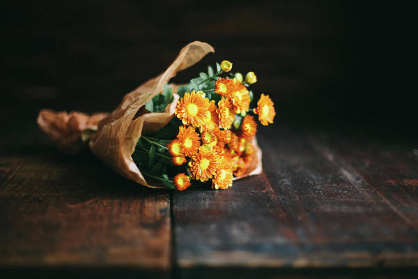 Tissue Paper Photograph - Chrysanthemums by Alina Spradley