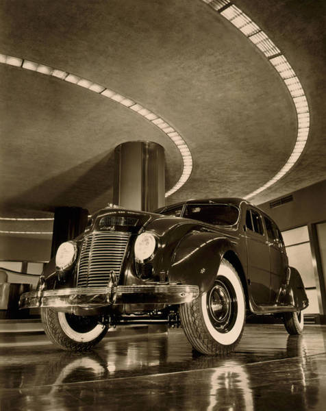 Auto Show Photograph - Chrysler Building Showroom by Underwood Archives