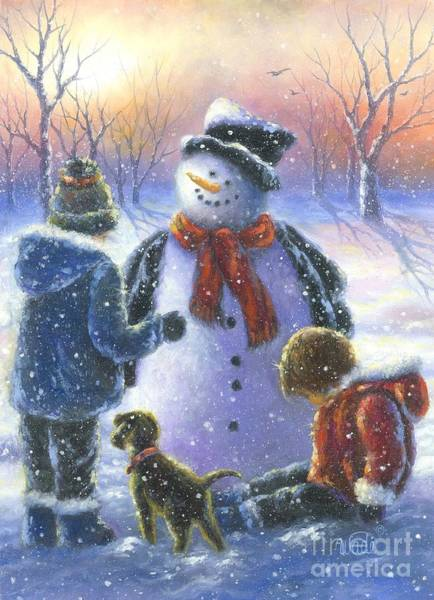Wall Art - Painting - Chubby Snowman  by Vickie Wade
