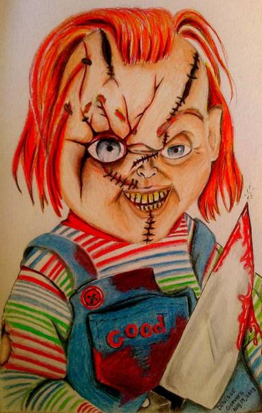 Chucky Wall Art - Drawing - Chucky by Denisse Del Mar Guevara