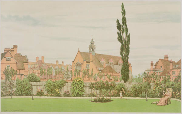 Garden Drawing - Church And Parsonage, Bedford Park, 1881 by Frederick Hamilton Jackson