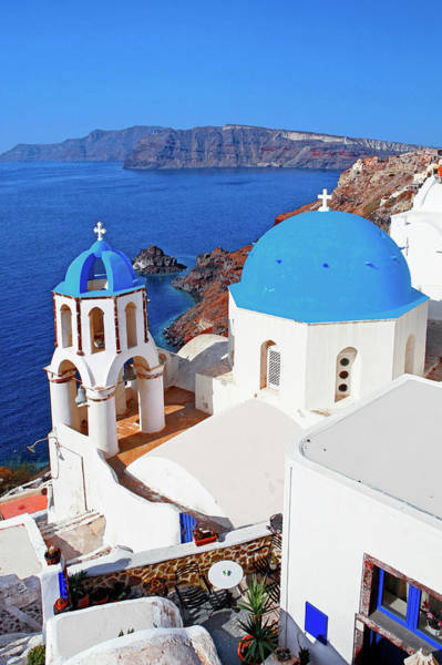 Church Photograph - Church At Oia Santorini Cyclades Islands by Jean-pierre Lescourret